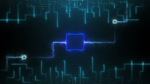 Digital motherboard and CPU overclocked . Digital grid. Energy waves. CPU Processing. Digital network. Computing. GPU overclocked