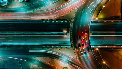 Time lapse expressway top view, Circle Road traffic an important infrastructure in Bangkok Thailand