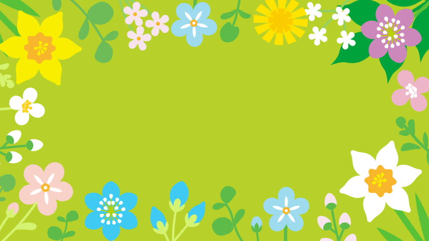 Loop-ready File - Swinging flowers animation, Round frame - green color background | Shutterstock HD Video #1023029530