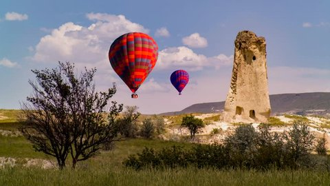 Cinemagraph of hot air balloons rising over a karst in Cappadocia, Turkey.