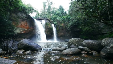 4k of Haew Suwat Waterfall in Khao Yai National Park, Thailand