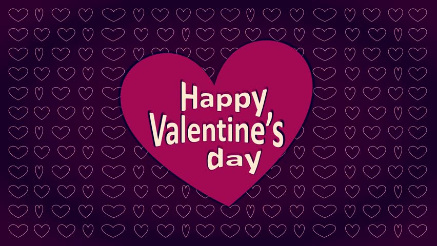Valentine's Day 4K dark purple digital Motion party banner of waving heart pattern holding animated pink color big shape with light orange text message on initially flickering comic backdrop | Shutterstock HD Video #1023223540