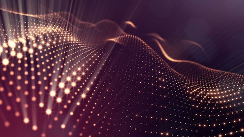 Composition with oscillating luminous particles that form surface. Abstract background of glowing particles with shining bokeh sparkles. Smooth animation looped. Red 9