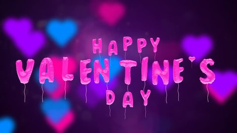 3d greeting card with wishes for valentine's day from balloons fly up on abstract background. Inflatable pink letters fly in air. This animation can be used like intro for your video, seamless loop.