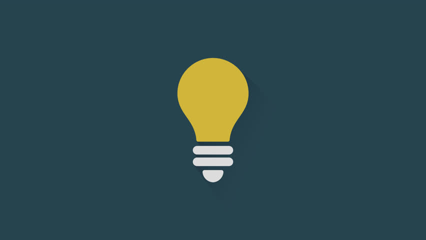 Loop animated light bulb icon. Motion graphics flat animation with long shadow, symbol of innovation, smart inspiration, idea, invention, and creativity - Alpha channel included
