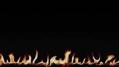 Fire flame border on a black background. Video 4k