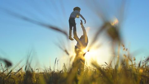 silhouette of father and son playing enjoying sunset in wheat field in nature on summer day. happy family walking outdoors. Little boy and father man having fun tossing up throwing son in air children