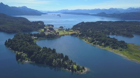 Aerial view of the lake of Nahuel Huapi near the town of Bariloche in Patagonia, Argentina