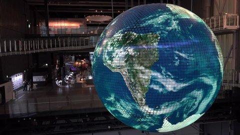 TOKYO, - NOVEMBER 09: Huge model of Earth (Geo-Cosmos spherical screen ) in the Miraikan museum. November 09 2018 in Odaiba, Tokyo, Japan