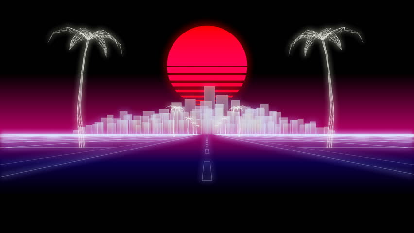 Neon city silhouette day road palms and sun 80s Retro Futurism wireframe Background 3d illustration render seamless loop low angle | Shutterstock HD Video #1023497110