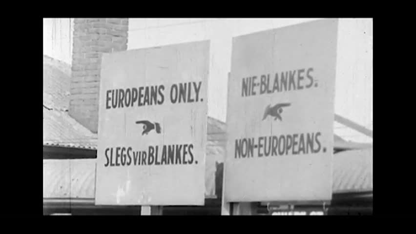 Cape Town, South Africa. About 1965. Signs of racial discrimination.