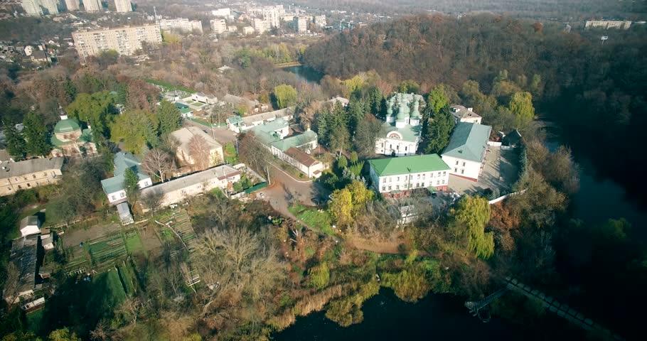 Drone View Of Orthodox Church. Kitaevo Monastery Aerial.Drone Shot Of Orthodox Church In Kiev, Ukraine. Russian Orthodox Church In Ukraine.Kitaevo Monastery of Holy Trinity in Kiev Kitaevskaya Pustyn.