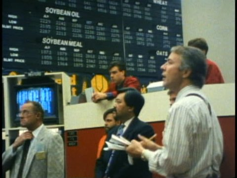 WINNIPEG, MANITOBA, 1990, Winnipeg Commodities Exchange, stockbrokers, traders