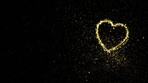 Abstract holiday valentines day background with shining gold sparkling heart particles on black. 4K motion graphic.