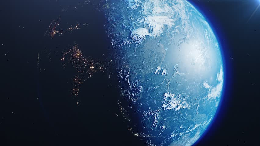 Beautiful sunrise world skyline. Planet earth from space. Planet earth rotating animation. Clip contains space, planet, galaxy, stars, cosmos, sea, earth, sunset, globe. 4k 3D Render. Images from NASA | Shutterstock HD Video #1023566830