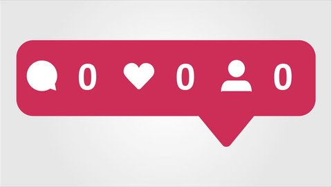 4K social media red Comments, Likes and Followers Counter, Shows Comments, Likes and Followers Over Time.