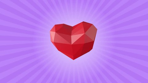 Low poly red heart. Looping Animation for valentine's day, wedding, birthday or other funny holidays. 60 BPM