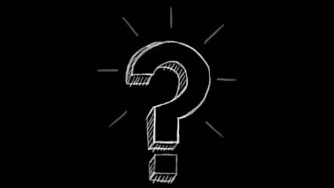 animated question mark, black chalk section, ideal for compositing, use as a mask, ideal footage to represent the idea concept