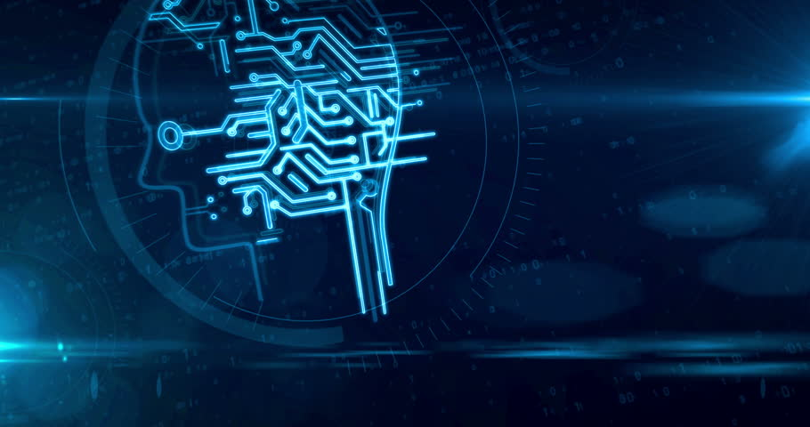 Artificial intelligence with cyber head symbol on digital background. Cybernetic brain and machine learning 3D abstract looping and seamless retro style animation. | Shutterstock HD Video #1023695290