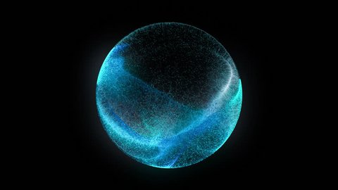Blue particle energy sphere. Abstract technology, science, engineering and artificial intelligence motion background. 3D rendering.