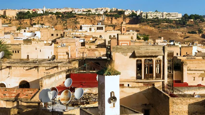 Panoramic view of cityscape in antient medina of Fez or Fes center, Morocco, Africa   Shutterstock HD Video #1023849010