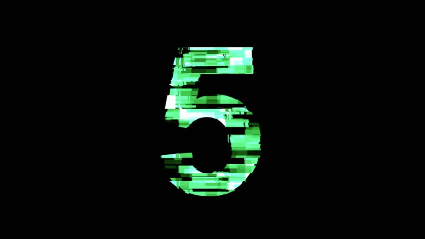 Number 5, five, distorted glitch futuristic digital look - 4K animation numbers set | Shutterstock HD Video #1023868330