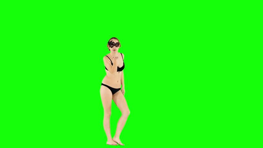Lingerie Girl Blowing Air Kisses Green Screen #1023982940