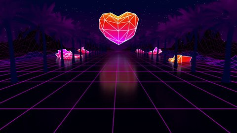 Low poly duotone heart  glowing neon, light grid landscapes  palms   animation grid, 80s retro sci-fi background  cyberpunk  retrofuturism   synthwave  retrowave  looping animation