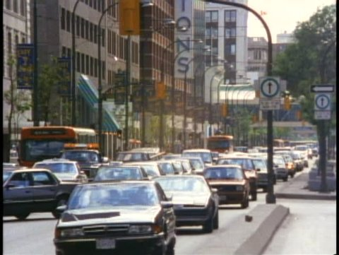 WINNIPEG, MANITOBA, 1990, Portage Avenue traffic, Winnipeg, Manitoba