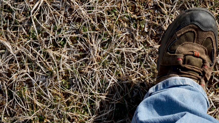 Looking down at feet walking on frozen grass pov | Shutterstock HD Video #1024059290