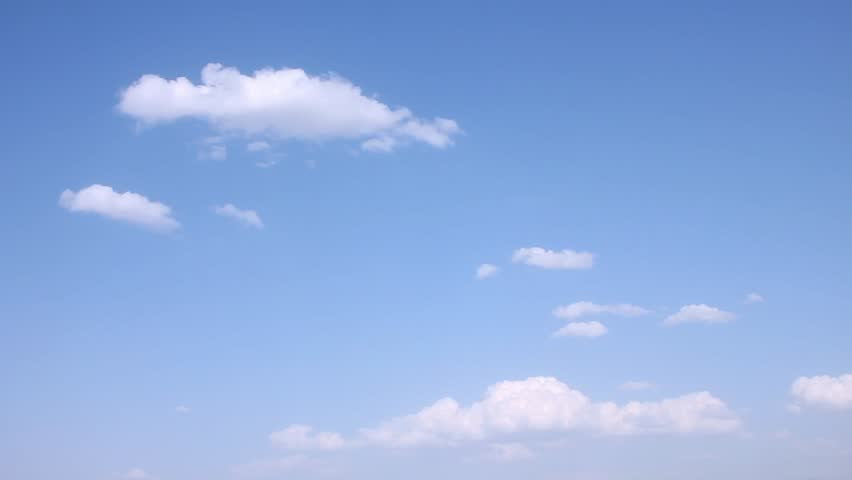Blue sky, white time lapse clouds in clear weather, beautiful summer sunny season, nice fluffy, puffy cloudscape rolling. -UHD.