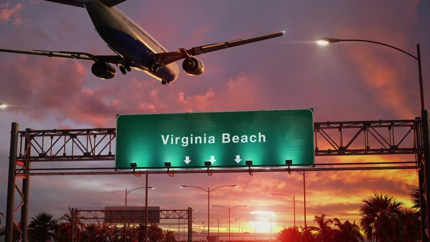 Airplane Landing Virginia Beach during a wonderful sunset