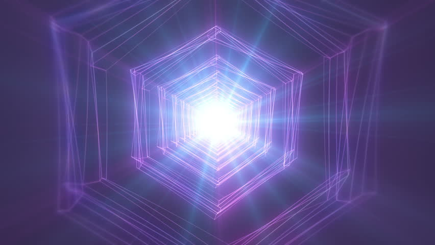 4K Abstract technology neon lines tunnel. pink and violet dots construction. Camera rotates and moves forward towards the white light. Dynamic background for project   Shutterstock HD Video #1024113710