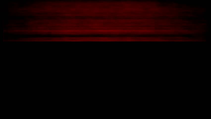 VHS red horizontal glitches, bottom green line, TV static noise animation
