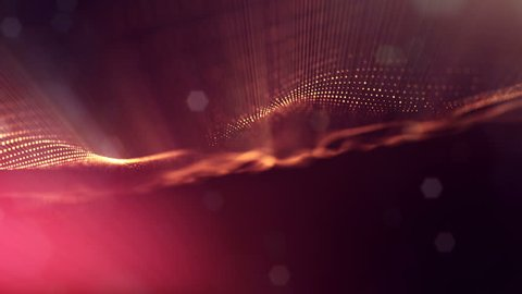 4k abstract looped backgrounds with luminous particles with depth of field. Science fiction background. Golden red dot structures