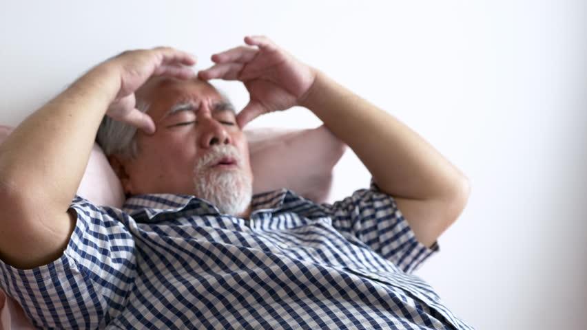 Elderly men have a headache, High Blood Pressure ,Health care ,People retirement lifestyle concept.  | Shutterstock HD Video #1024170890