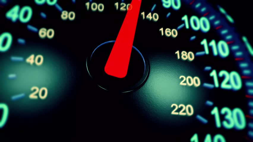 3D animation of moving pointer on car speedometer. Speed concept. #1024180430