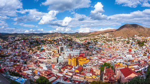 Guanajuato City, Mexico, time lapse view of cityscape including historical landmark Basilica of Our Lady of Guanajuato during daytime.