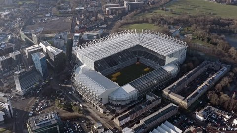 February 5, 2019, newcastle upon tyne, uk : aerial view of st  james park  is the home stadium of premier league club newcastle united f c  it is the  seventh largest football stadium in england hd - 4k