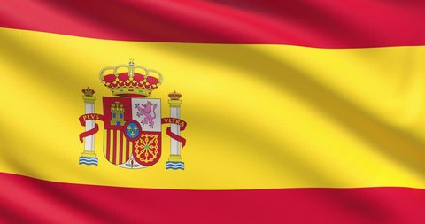 The flag of Spain. Waved highly detailed fabric texture.