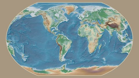 Indonesia area presented against the global physical map in the Kavrayskiy VII projection with animated oblique transformation