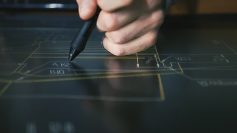 Product Engineering by Creative Designer Architect working with pen tablet display. drawings on the interactive screen