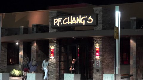 P.F. Chang's Chinese restaurant food customers enter, Peabody Massachusetts USA, November 10, 2014