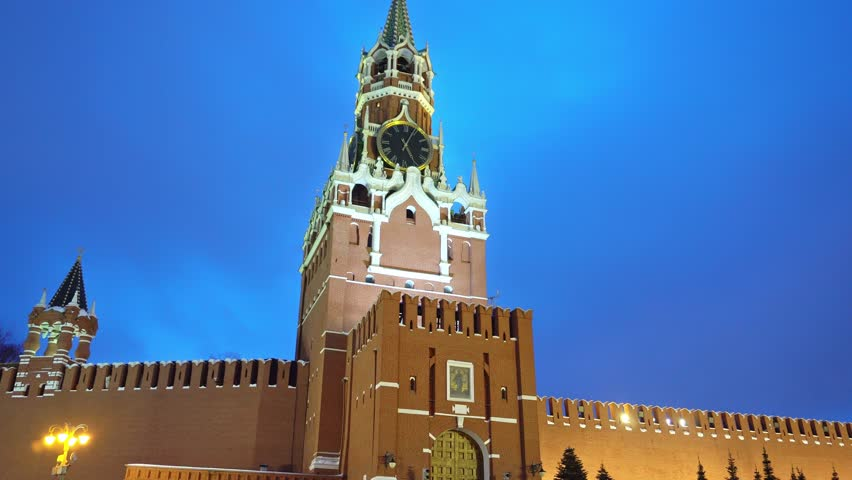 Kremlin Chimes, clock and  red star on it, Kremlin Wall in Red Square, Moscow, symbols of the country, night, no people, panorama, close up, blue sky
