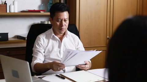 Business Manager blaming employee who getting stressed ,pressure at office.