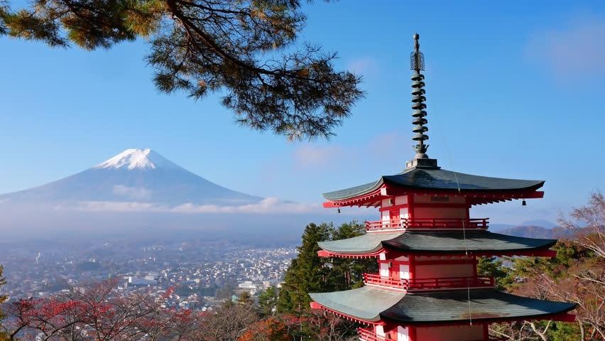 Colorful Autumn with Mountain Fuji and Chureito Pagoda in Japan around Lake Kawaguchiko  | Shutterstock HD Video #1024568300