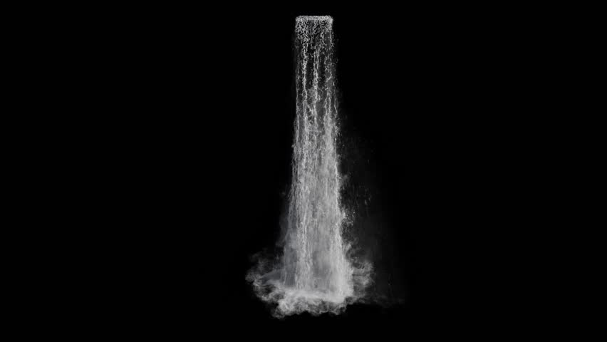 Waterfall texture seamless loop, 4k, isolated on black, foam and mist, perfectly looped