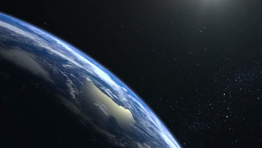 Earth from space. The camera approaches the Earth and rotates. No sun in the frame. Stars twinkle. 4K. Sunrise. The earth slowly rotates. Realistic atmosphere. 3D Volumetric clouds. | Shutterstock HD Video #1024637720