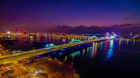 Da Nang, Vietnam: Dragon bridge at sunset which is considered as a icon of Da Nang city.