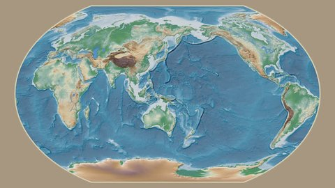 Suriname area presented against the global physical map in the Kavrayskiy VII projection with animated oblique transformation